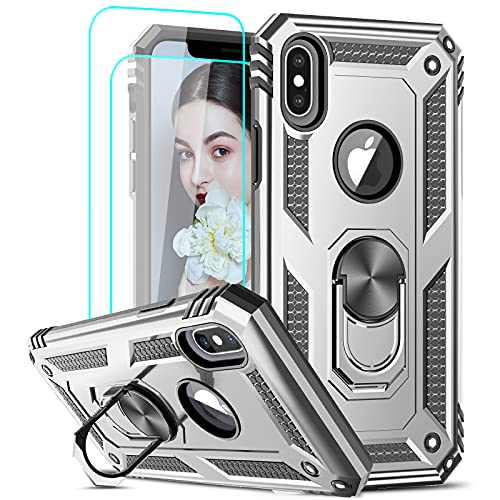 LeYi Compatible for iPhone X Case, iPhone Xs Case with [2 Pack] Tempered Glass Screen Protector for Women Men, [Military-Grade] Phone Case with Ring Kickstand for Apple iPhone X Xs 10, Silver