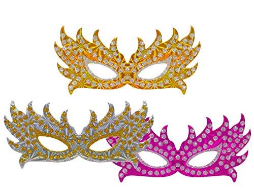 Lote de 100 Antifaces de Cartón Doble Metalizados. Artículos de Cotillones. Máscaras. Complementos para Fiestas y Eventos. Decoración Original para Nochevieja, Bodas, Comuniones y Cumpleaños.