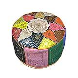 Puf marroquí de Piel autentica Multicolor. Vacío Relleno no Incluido. Mesa, Asiento y reposapiés. 40 x 20 cm