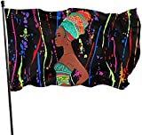 Oaqueen Flagge/Fahne, Sex African American Woman Garden Flag 3x5 FT Banner with Brass Grommets Fly Breeze House Indoor Outdoor Home Boat Yacht Car Decorations,Single-Sided Black