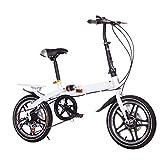 QYCloud Bicicleta Plegable de Acero de Alto Carbono, Bicicletas de cercanías para Bicicletas Ligeras y de bajo Impacto Speed Shock Frenos de Disco Dobles Bicicleta para Estudiantes