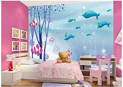 ZAMLE Benutzerdefinierte 3D Fototapete 3D Wandbilder Wallpaper Fernseheinstellungswand Cute Cartoon Sea World Kinderzimmer Hintergrund Wanddekor, 150X105 Cm (59,1 X 41,3 In)