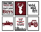 Buffalo Plaid Deer Tractor Truck Themed Children Wall Decor (Set of Six) Stag Hunting