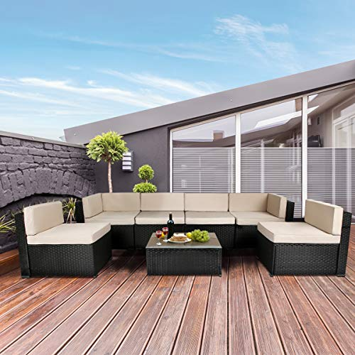 U-MAX 7 Piece Outdoor Patio Furniture Set, Black PE Rattan Wicker Sofa Set, Outdoor Sectional...