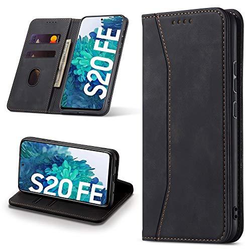 Leaisan Handyhülle für Samsung Galaxy S20 FE Hülle Premium Leder Flip Klappbare Stoßfeste Magnetische [Standfunktion] [Kartenfächern] Schutzhülle für Galaxy S20 FE Tasche - Schwarz