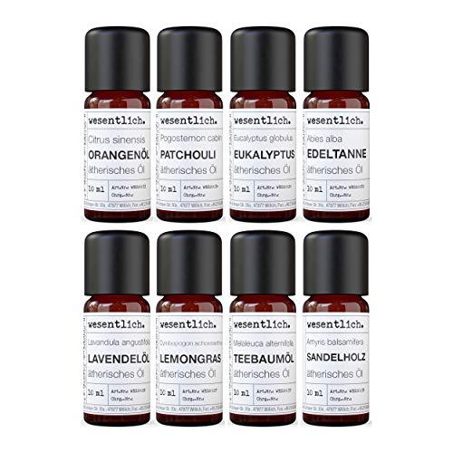 Ätherische Öle Set No. 1 (Basisdüfte) von wesentlich. Lavendel, Teebaum, Lemongras, Edeltanne, Eukalyptus, Patchouli, Sandelholz und Orange - 100% naturrein