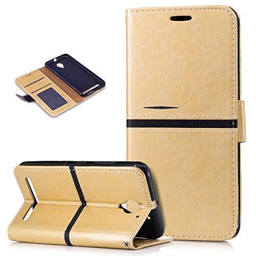 Kompatibel mit Lenovo Vibe C2 Hülle,PU Lederhülle Flip Hülle im Bookstyle Ständer Wallet Soft Silikon Magnetverschluss Kunstleder Handy Hülle Tasche Handy Tasche Schutzhülle für Lenovo Vibe C2,Gold