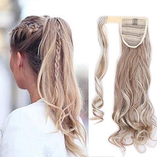 Extensión de cola Clip para el cabello en extensiones de cabello Cola de caballo Cola de caballo Envolver alrededor Rubio Ondulado Ondulado Meche 43cm, Mezcla de rubio ceniza Bleach Blonde