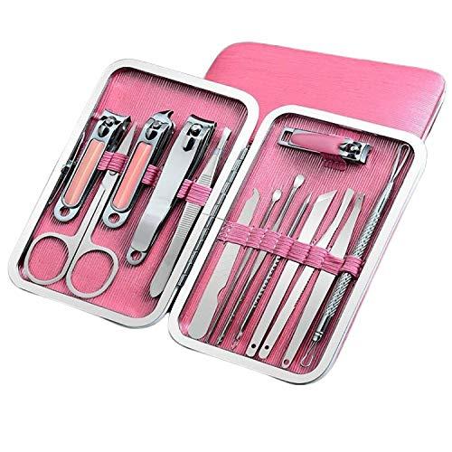 FeiFei156 Outil De Voyage Manicure Safe Home Adult Full Set Trim Beauty Nail Knife Cover Modèle Boutique: Poudre de Mode - Ensemble de 14 pièces