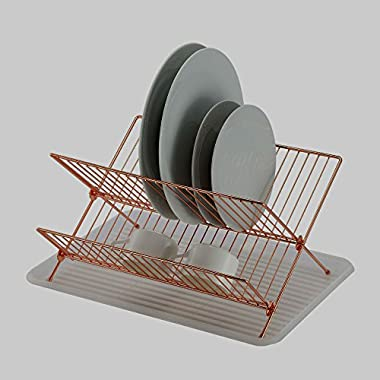Deluxe Chrome-plated Steel Foldable X Shape 2-tier Shelf Small Dish Drainers with Drainboard (Gold Copper)