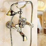 Lujosa ducha china de alta calidad, estilo vintage, acabado de latón antiguo, inspirado en la bañera para grifo con cabezal de ducha LYSLQ-3set ducha
