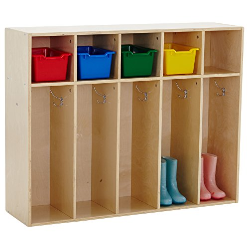 ECR4Kids Birch Streamline Classroom Locker - Hardwood Coat & Backpack Storage for Kids - 5-Section, Toddler (36' H)