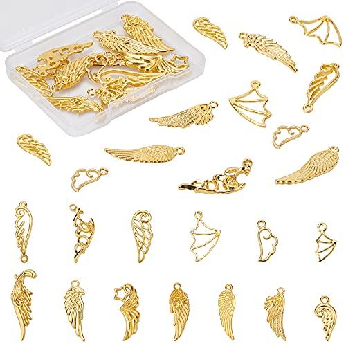 OLYCRAFT 26 colgantes de alas con 13 estilos, relleno de resina de oro, encantos de relleno de resina epoxi, suministros de resina para bricolaje pulsera y collar de resina