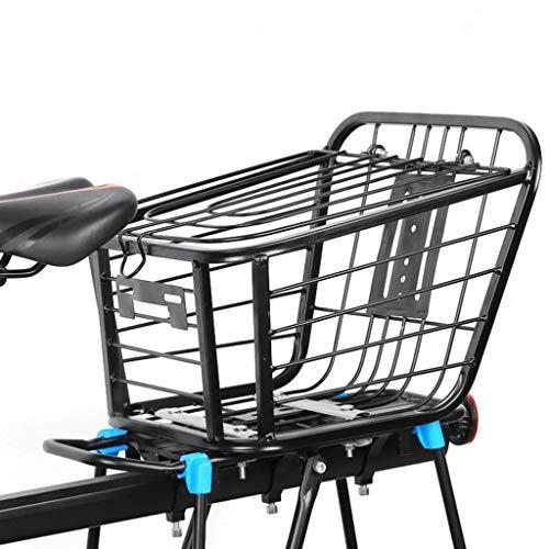 MBZL – Cesta de bicicleta trasera – Alambre de metal para montaje en rack, para asiento trasero con Heavy Duty Reflective Negro