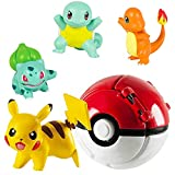 Pokémon Ball Throw N Pop Ball con 4 figuras de acción Pikachu – Juego de juguetes – lanzar y pelotas de Pokémon Pop para niños, niñas o regalos de cumpleaños infantiles