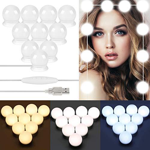 LONK Luces para Espejo Maquillaje 10 Bombillas LED 3000K-6500K, Lámparas del Espejo Maquillaje Estilo…