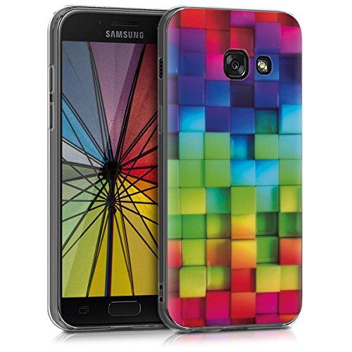 kwmobile Funda Compatible con Samsung Galaxy A3 (2017) - Carcasa de TPU y Cubos Colores en Multicolor/Verde/Azul