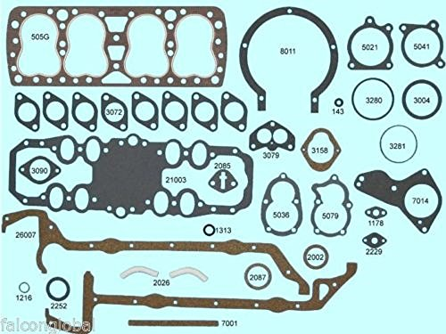 Full Engine Gasket Set/Kit BEST Gaskets compatible with Ford 221 24-stud Flathead w/GraphTite Head 38-47 (stock)