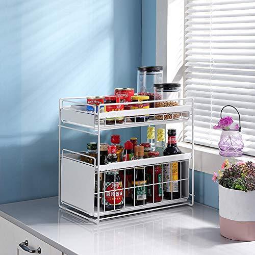 Organizador de cajones de 2 niveles,estante de almacenamiento debajo del fregadero,organizador con cajón de cesta deslizante,cajones extraíbles debajo del fregadero,para cocina y baño,usos múltiples