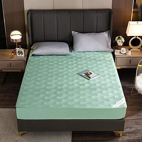 GTWOZNB Matratzen-Bett-Schoner mit Spannumrandung | Auch für Boxspring-Betten und Wasser-Betten geeigne Rutschfestes Bettlaken aus Samtbaumwolle kariert grün_200 * 220cm