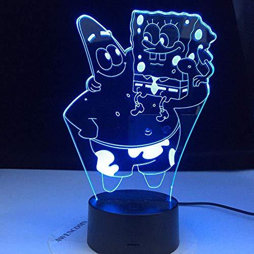 Lámpara de ilusión 3D luz de noche Led Bob Esponja Bob Esponja Patrick estrella holograma bebé niño dormitorio cabecera regalo para Navidad
