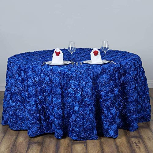 """BalsaCircle 120"""" Royal Blue Satin Raised Rosettes Round Tablecloth Wedding Party Dining Room Table Linens"""