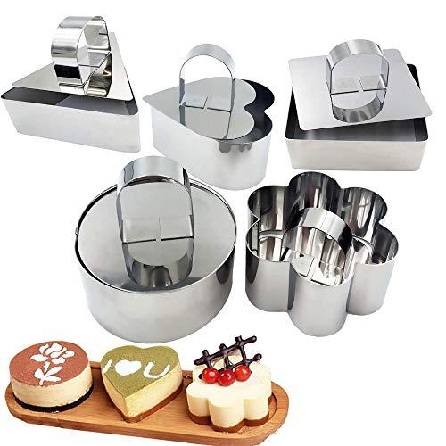 5 Stück Kuchenform Edelstahl Kuchen Ring Kuchenform,Tortenring Mousseformen Dessertringe,Verschiedene Formen Lebensmittelringe DIY Kochringe Kuchenring Form Set