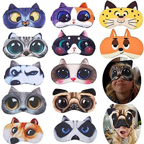 12 Pack Cute Animal Funny Sleep Eye Mask for Sleeping Cat Dog Soft Plush Blindfold Sleep Masks Eye Cover Eyeshade for Kids Girls Men Women Plane Travel Nap Night Sleeping