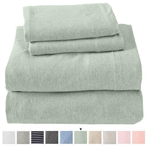 Jersey Knit Sheets. All Season, Soft, Cozy Queen Jersey Sheets. T-Shirt Sheets. Jersey Cotton Sheets. Heather Cotton Jersey Bed Sheet Set. (Queen, Green)