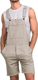 Mens Bib Overall Shorts Lightweight Cotton Casual Loose Fit Denim Jumpersuit Walkshort Pockets Rompers