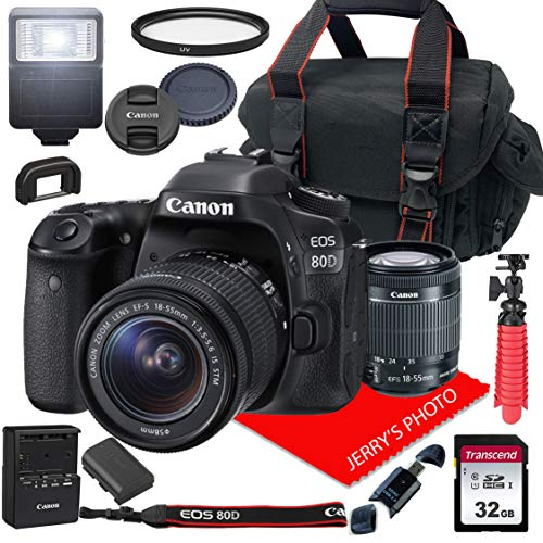 Canon EOS 80D DSLR Camera w/Canon EF-S 18-55mm F/3.5-5.6 is STM Zoom Lens + Case + 32GB SD Card (15pc Bundle)