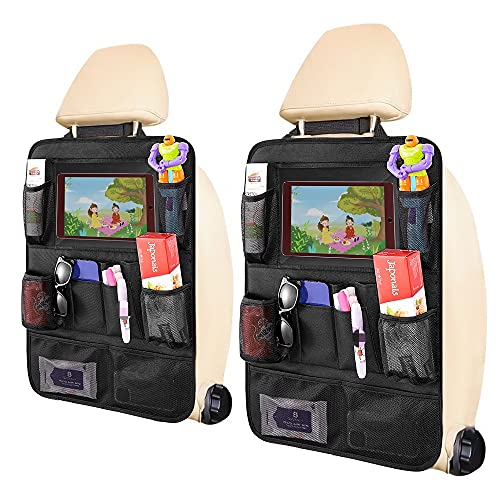 "Car Backseat Organizer, for Kids Car Organizer Kick Mats with 10"" Touch Screen Tablet Holder 11 Storage Pockets Car Back Seat Protectors Backseat Child Kick Guard Seat Saver 2 Pack"