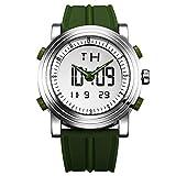 SINOBI para Hombre Reloj de Pulsera Deportivo Cuarzo electrónico Digital Reloj con Alarma Cronómetro Doble Movimiento Hombres de la muñeca Relojes s9368g (Silver Case&Green Band)