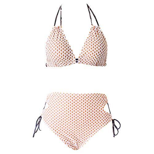 YANFANG Traje De Baño Dos Piezas Bikini A Cuadros con Vendaje Sin Alambre Sexy Moda para Mujer Push Up Halter Acolchado Bra Tops Y Braguitas Sets Talla Grande BañAdor Vacaciones