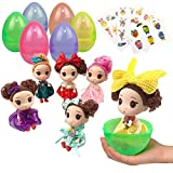 UNGLINGA Jumbo Easter Eggs Basket Stuffers with Fashion Beauty Doll Baby Girls Decorations and Stickers for Girls Toddler Kids Gift Prefilled Surprise Egg Toy Party Supplies Pack of 6
