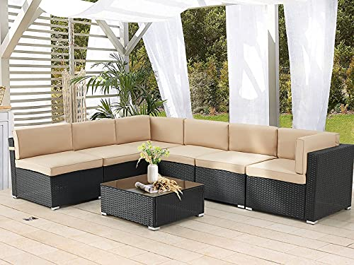 AECOJOY 7 Piece Patio PE Rattan Wicker Sofa Set, Outdoor Sectional Conversation Furniture Chair Set with Cushions and Table, Black