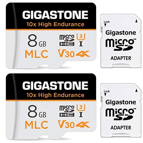 Gigastone 8GB MLC Tarjeta de Memoria Micro SD, Paquete de 2, grabación de Video 4K de Alta Resistencia 10x, Cámara de Seguridad, Cámara de vigilancia, Cámara de Tablero 90MB/s, U3 C10 Micro SD MLC