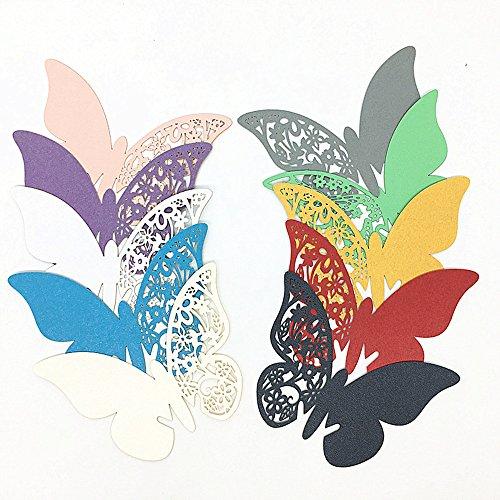 ElecMotive 100 Pièces 10 Couleur Carte de Verre Marque Place Papillon Décoration de Table pour Cérémonie de Mariage