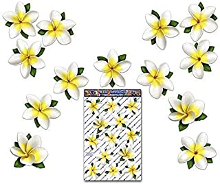 FLOWER Plumeria BUTTERFLY Car Decal - White Frangipani Large Vinyl Sticker Pack For Wall Luggage Laptop Bicycle Caravans T...