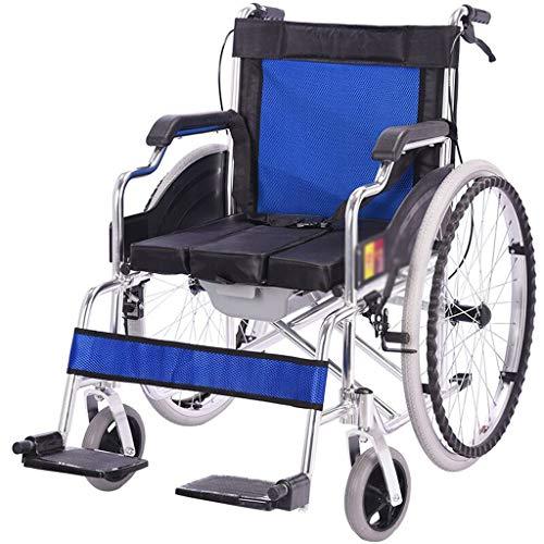Ocye Rolstoeltransportstoel, ultralicht, medische transportrolstoel, lichte inklapbare transportstoel, geschikt voor ouderen, geschikt voor reizen, zitstoel van 18 inch