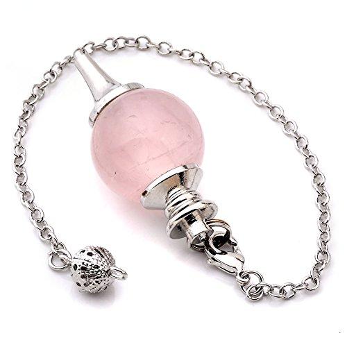 Jovivi Pendule Esoterisme Radiesthésie Divination Reiki Rod Chakra Quartz Rose Pierre Précieuse Perles Pendentif Combinaison Bracelet