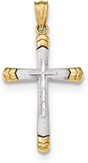 14k Two-tone Gold Polished DC Cross Pendant