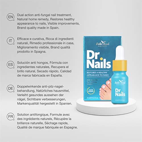 Belle Azul Dr. Nails - Formula anti-fungina naturale, antimicotico, per unghie danneggiate e scolorite. Arricchito con Olio di Argan biologico (certificato ECOCERT), Tea Tree e Chiodi di Garofano per unghie più sane e più forti, 10 ml.
