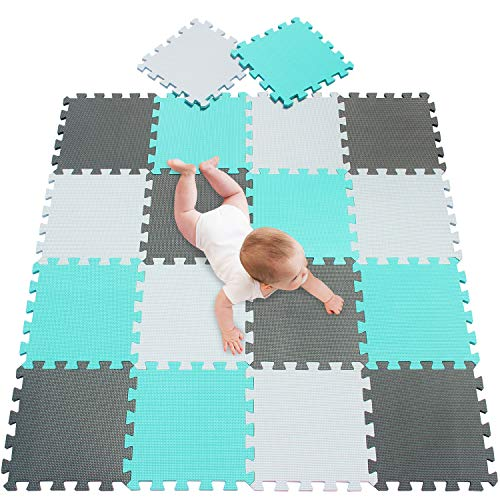 meiqicool Alfombra Puzzle para Niños Bebe Infantil, esteras de 30x30 cm, 18 Piezas en Espuma EVA 010812