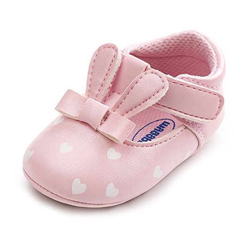 Baby Mary Jane Sandals,Infant Anti-Slip Soft Rubber Sole Toddler First Walker Shoes (A-Pink,6-12 Month)