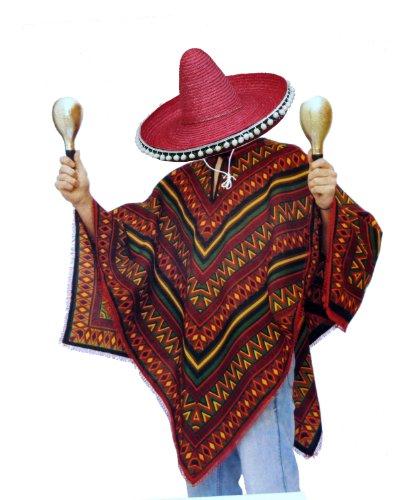 Bunter Poncho und roter Sombrero im Set - Mexikaner Kostüm