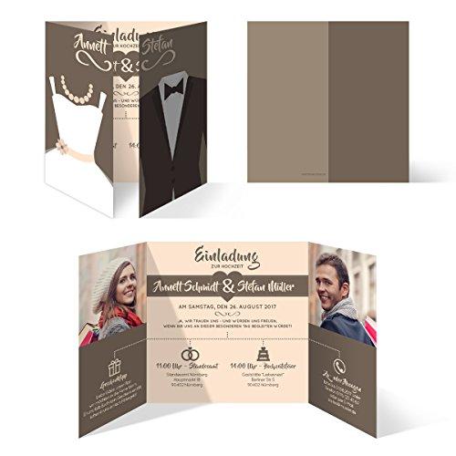 Hochzeitseinladungen (30 Stück) - Braut und Bräutigam Altarfalz - Hochzeitskarten in Braun