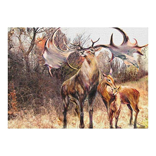 Wooden Jigsaw Puzzle, Custom Puzzles Forest Reindeer 300 Pieces Jigsaw Puzzle Funny Novelty DIY Toys for Adult Children Gift Home Decoration, 10×15 Inch