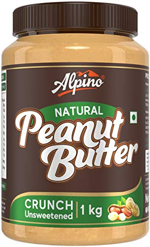 Alpino Natural Peanut Butter Crunch 1 KG | Unsweetened | Made with 100% Roasted Peanuts | 30% Protein | No Added Sugar | No Added...