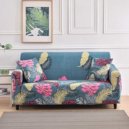 ASCV Funda de sofá Funda de sofá elástica con Estampado de Hojas Funda de sofá Todo Incluido sofá Funda de sofá en Forma de L con Diferentes Patrones A2 3 plazas